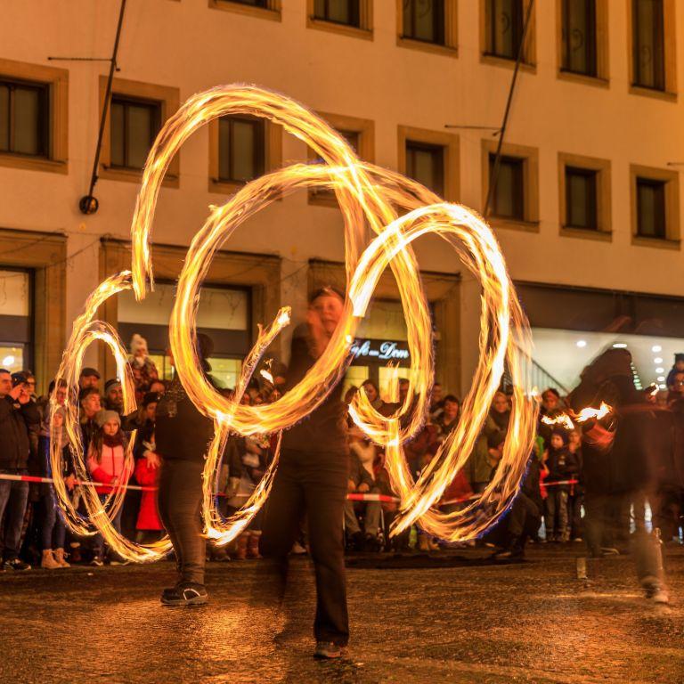 Feuershow beim Lichterglanz in Würzburg