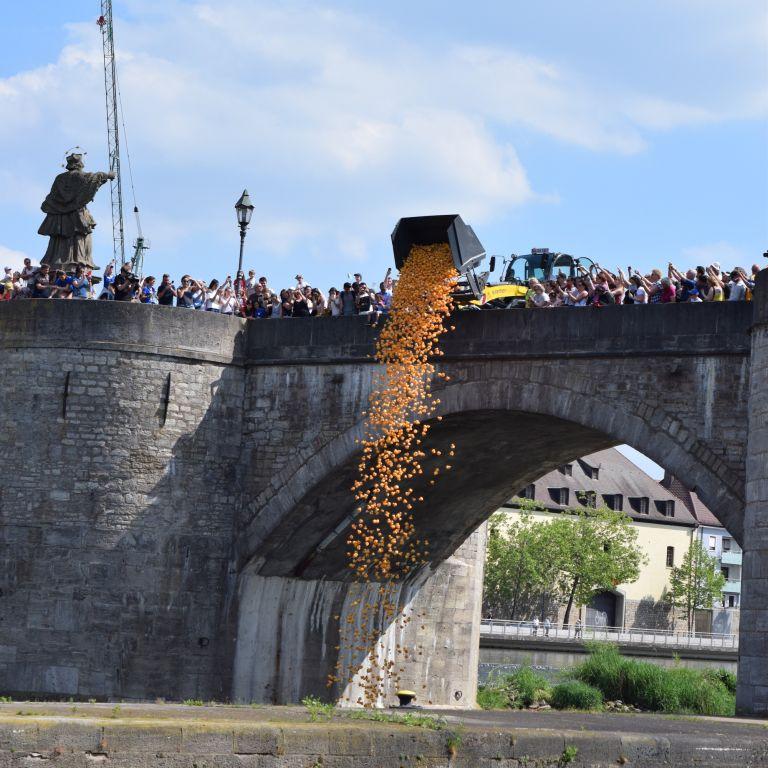 Start des Entenrennens in Würzburg