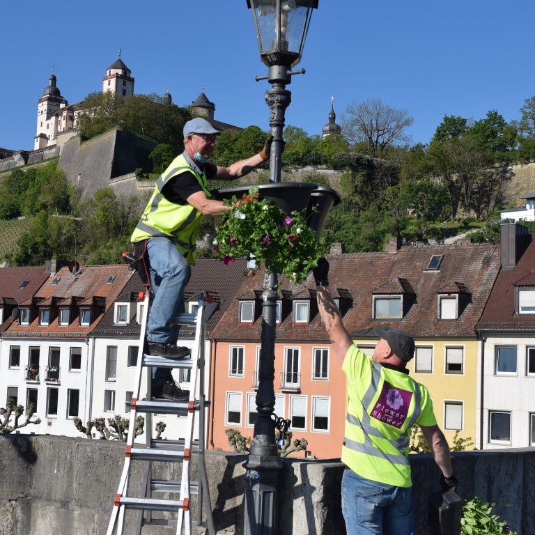Anbringung der Flower Baskets auf der alten Mainbrücke